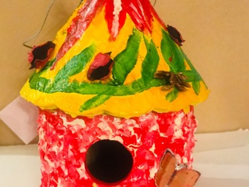 Selling with online payment: Mushroom red and Yellow Birdhouse