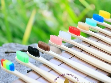 For Sale: Adult Bamboo Flat Handle Toothbrush Oral Care Soft Bristle