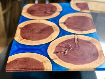 Selling with online payment: Eastern Red Cedar/Sea Blue Epoxy Charcuterie Board