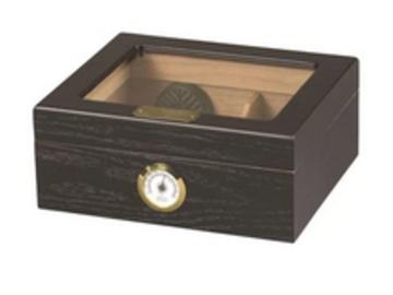 Post Products: Capri Glass Top Humidor 25-50 Cigar Count | Black Oak