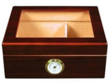 Post Now: Capri Glass Top Humidor With Front Mount Hygrometer | 25-50 Cigar