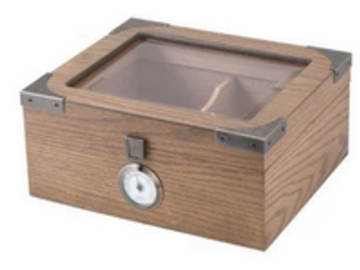 Post Products: Newport Glass Top Humidor 25 Cigar Count | White Oak Finish
