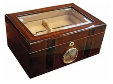 Post Products: Ambassador Glass Top Humidor 100 Cigar Count