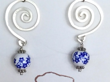 Selling with online payment: Hammered Wire Spiral Earrings-Assorted colors