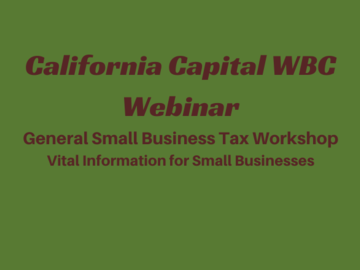 Workshop: General Small Business Tax Workshop