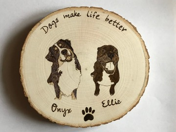 Selling: Custom Dog Portrait Wood Burned Sign, Personalized Dog Signs