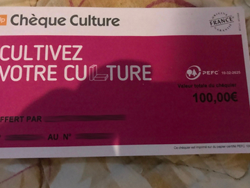 Vente: Chèques Culture (100€)