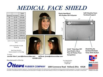 Sell your product: MEDICAL FACE SHIELD     MADE IN OHIO
