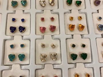 Buy Now: 2160 PRS-- Heart and Round Rhinestone Earrings in Display- $.05pr