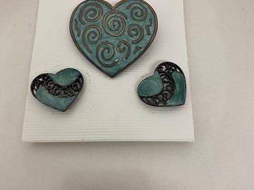 Buy Now: 100 sets-- Designer Enamel Heart Pin with Earrings-- $ .99 set