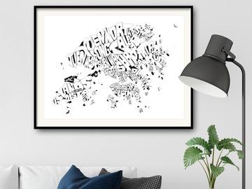 : Framed Black&White Hong Kong SAR Typography Map on Fine Art Paper