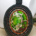 Selling with online payment: Beautiful green jasper beaded pendant