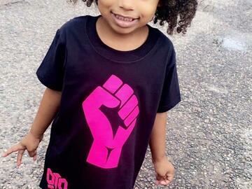 For Sale: DTD Black Apparel Kids Fist of Power T-shirt (pink)