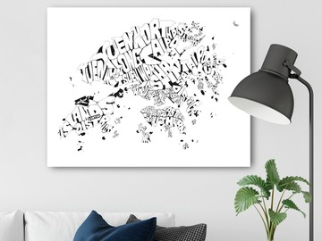 : Black & White Hong Kong Typography Map Print on A2 Canvas