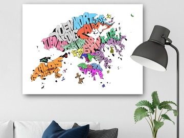 : Colored Hong Kong SAR Typography Map Print on A2 Size Canvas
