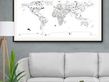 : Framed Black&White Typo Map Print of The World  on Fine Art Paper