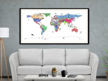 : Framed Colored Typo Map Print of The World on Fine Art Paper