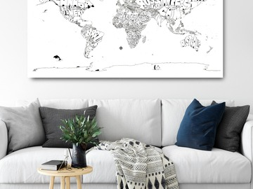 : Black & White Typography Map Print of The World on Canvas