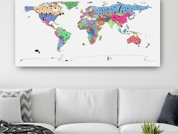 : Colored Typography Map Print of The World on Canvas