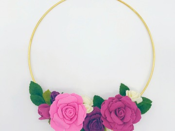 Selling: Felt Rose Hoop Wreath | Purple Rose Floral Wreath