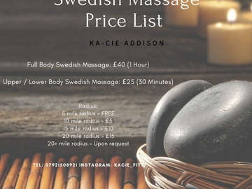 For Sale: Mobile Sports / Swedish Massage Therapist