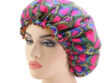 For Sale: African print satin-lined bonnets