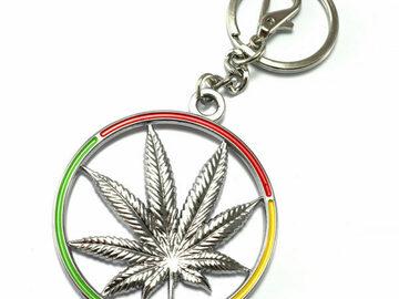Post Products: Rasta Circle Pot Leaf Metal Keychain
