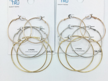 Buy Now: 100 cards 3 pair Hoop earrings Wholesale -Only .35 cents a card