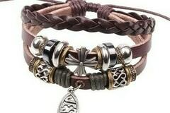 Buy Now: 50 BOHO Wrap Christian Leather Beaded Dangle Fish Jesus Bracelet