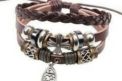 Buy Now: 250 BOHO Wrap Christian Leather Jesus Fish Cross Bracelet