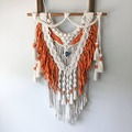 Selling: Macrame Wall Hanging with Sari Silk Weave and Fringe