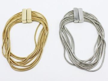 Buy Now: Dozen Wholesale New Gold & Silver Tone Multi Strand Bracelets