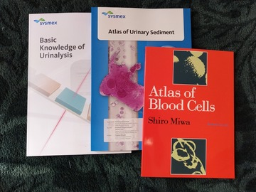 Myydään: Medical books Atlas of Blood cells, Urinalysis