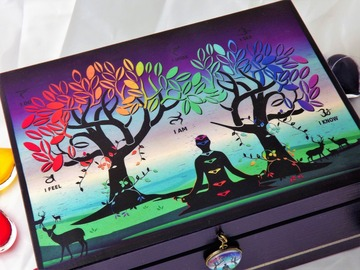 For Sale: CHAKRA TREE OF LIFE - WOODEN CRYSTAL STORAGE BOX. SPIRITUAL DECOR