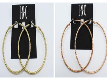 Liquidation/Wholesale Lot: Dozen  I.N.C. Rose Gold & Gold Tone Hoop Earrings $252 Value
