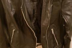 Buy Now: DKNY WOMEN BLK LEATHER/Cloth Biker JACKET  Sz PXS.