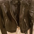 Buy Now: DKNY WOMEN BLK LEATHER/Cloth Biker JACKET  Sz PXS.