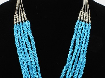 Liquidation/Wholesale Lot: Dozen New Silver & Turquoise Bead Necklaces by Dress Barn