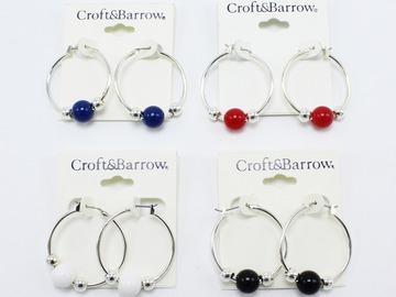 Liquidation/Wholesale Lot: Dozen Croft & Barrow Silver Hoop Earrings with Beads  $144 Value