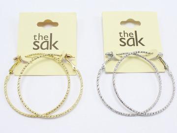 Liquidation/Wholesale Lot: Dozen Gold & Silver Textured Hoop Earrings by The Sak $264 Value