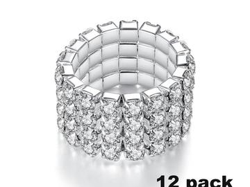 Liquidation/Wholesale Lot: Dozen New Silver 4 Row Rhinestone Crystal Stretch Rings