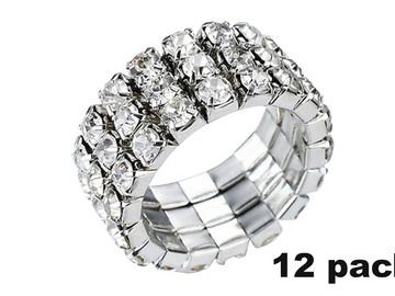 Buy Now: Dozen New Silver 3 Row Rhinestone Crystal Stretch Rings