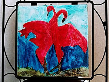 Selling with online payment: Pink Birds Dancing Painting