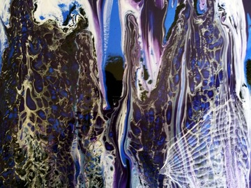 Selling with online payment: Black and Blue Streaming Acrylic Pour