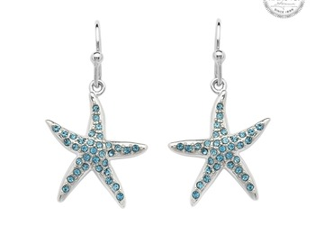 Selling with online payment: Starfish Earrings with Aqua Crystals