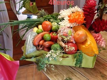 Vente avec paiement en direct: Coffret de fruits fleurs légumes