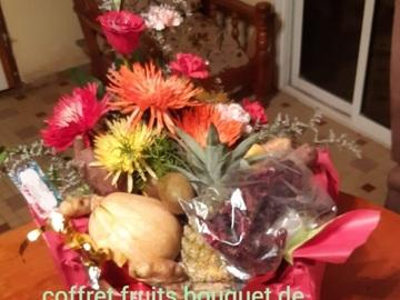 Vente avec paiement en direct: Coffret de fruits bouquet de fleurs légumes
