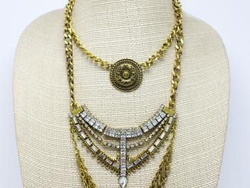 Liquidation/Wholesale Lot: Dozen New Gold Ornate Statement Necklaces by Joe Boxer