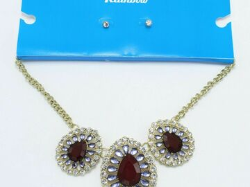Buy Now: 18 Gold Rhinestone Statement NecklaceS & Earring Sets $96 Value
