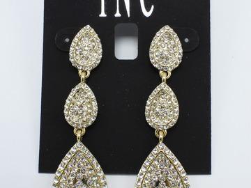 Liquidation/Wholesale Lot: Dozen I-N-C Gold Pave Rhinestone Drop Earrings $354 Value